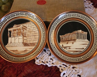 """Set of 2 Hand Made Souvenir 5"""" Copper Plates Made in Greece - The Parthenon and Acropolis"""