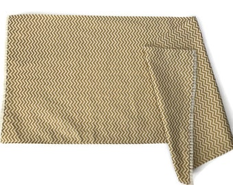 Metallic gold and cream chevron print home altar cloth 32''x13''