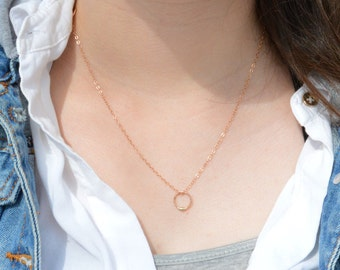 Solid 14k Gold Dew Drop and Solid Rose Gold Necklace, Solid 14k Gold Circle Necklace, Dew Drop Necklace, Minimal Necklace, Dainty Necklace