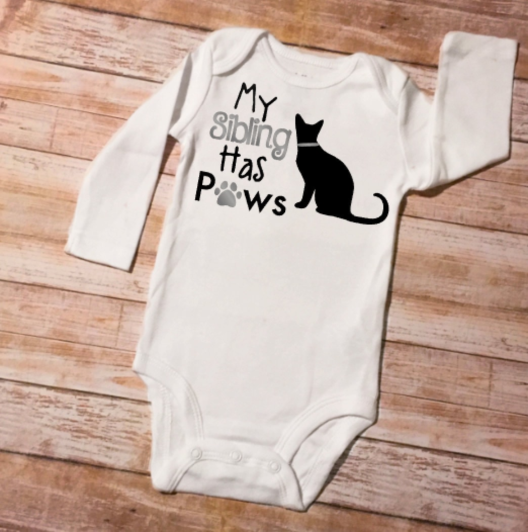 Sibling Shirts My Sibling Has Paws Cat Onesie Baby Shower