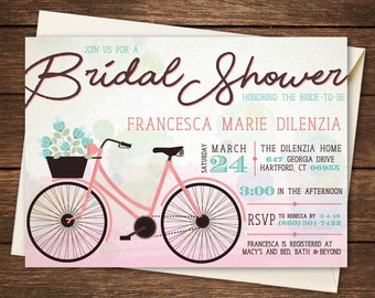 Wedding bike invites etsy bicycle bridal shower invitation filmwisefo