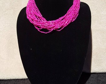 Hot pink necklace, fuchsia necklace, Seed Bead necklace, wedding jewelry, gift idea, bridesmaid gift, pink and gold necklace.