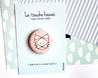 Carton à message 'Welcome to a sweet world' et son Magnet *Chat*