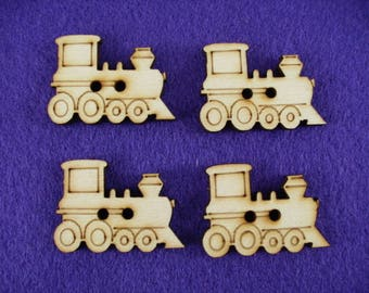 Buttons, Wooden, Train, set of 4, 3,5 x2, 5 cm  (15-0014A)