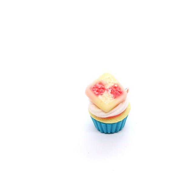 Battenberg Cupcake Charm - Stitch Marker - Progress Keeper - Scissor Fob Charm - Ready to ship