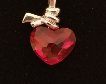 Swarovski crystal heart pendant, red, rhodium, necklace,