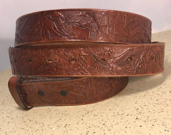 "VINTAGE LEATHER BELT western americana 55 inch 55"" eagles elk buck deer wildlife cowboy mountains brown red"