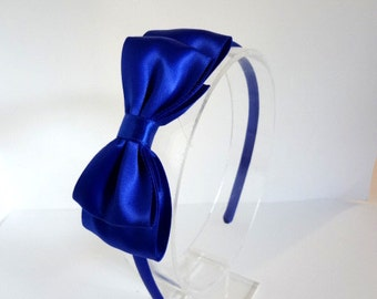 Royal Blue Satin Bow Headband, Blue Bow Headband, Royal Bow Headband, Satin Bow Headband, Girls Hair Accesories, Adult, Teen, Girls, Bows