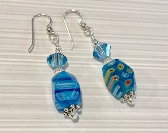 Sterling Silver, Swarovski Crystal and Millefiori Bead Eararings - FREE SHIPPING