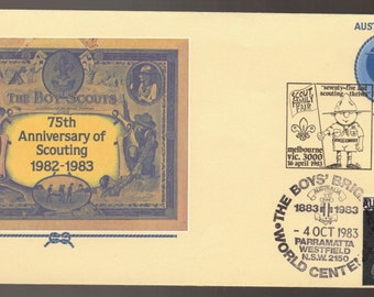 Australia 75th Anniversary SCOUTING FDC First Day Cover Multiple Cancels - Boys Brigade Cinderella, Scout Family Fair, Pacific Rover Moot