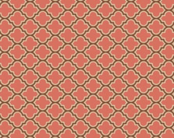 Joel Dewberry Fabric, True Colors Collection, Lodge Lattice in Salmon, cotton quilting fabric - YARD