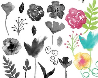 Watercolor Flowers digital brushes + png, .abr, digital stamps, graphics, clip art, INSTANT DOWNLOAD, photoshop brushes, CU, s4h, stationery