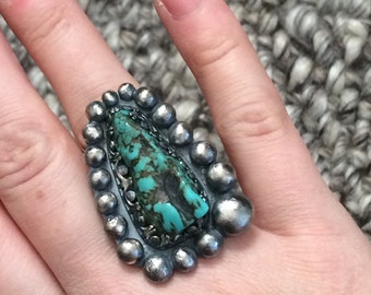 Chunky Turquoise Nugget Ring - Oxidized Sterling Silver Metalwork Ring - BOHO / Southwestern / Style Sagittarius Jewelry Gift for Her