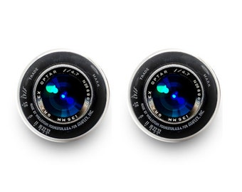 Vintage Camera Lens Earrings Stud Earrings Jewelry (with jewelry box)