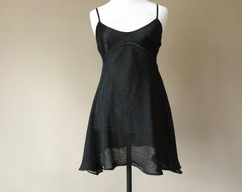 XS / Victoria Secret Babydoll Nightie Lingerie / Black Satin & Chiffon / Extra Small / FREE Shipping