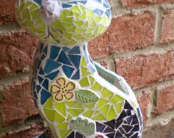 Stained Glass Mosaic Cat Vase/Planter