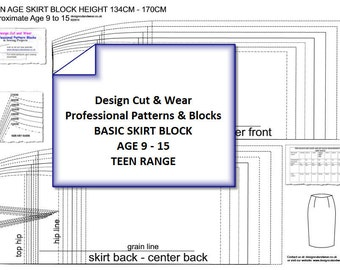 Teen Age Skirt Pattern Blocks Age 9 to 15- SLOPER -Height 134cm-170cm - Ideal For Small Fashion Business or Pattern Cutter.