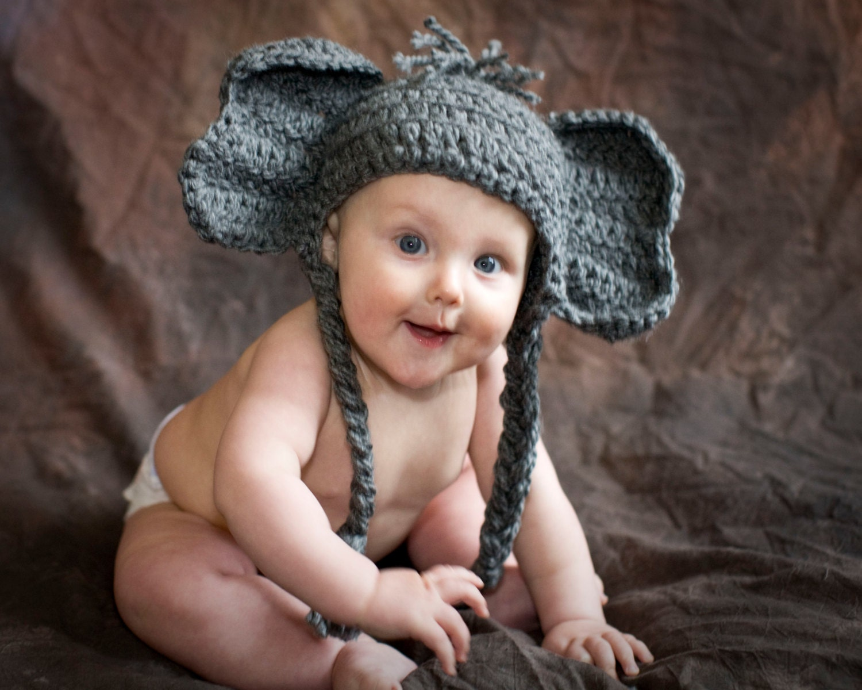 Elephant Baby Hat Alabama Toboggan Beanie Crochet Kids