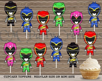 Power Rangers Dino Charge Cupcake Toppers, Die Cuts, Birthday Party Cupcake Toppers