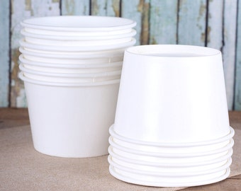 Large White Ice Cream Cups, White Ice Cream Bowls, Sundae Cups, Ice Cream Party Cups, Dessert Cups, 8 oz Paper Ice Cream Cups (18)
