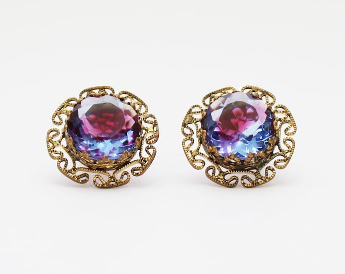 West Germany Purple Stone Filigree Earrings - Vintage 1950s Clip Earrings