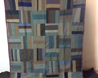 Vintage Wool Log Cabin Quilt