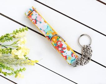Sunny Floral Dog Collar - Female Dog Collar - Martingale Chain Collar - Dog Collar - Check Chain Collar - Metal buckle