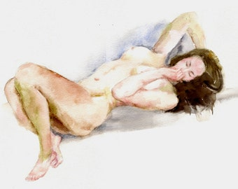 Original watercolor painting of the female nude-06, Holiday present / birthday present / art collection