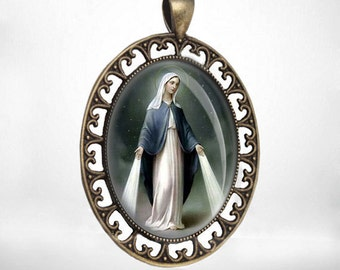 Our Lady of Miraculous Virgin Mary Dark Tone Catholic Medal Pendant Bronze Oval Religious Jewelry