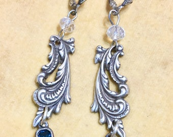 Celina, earrings, vintage assemblage, paisley filigree metal stampings, blue dangle