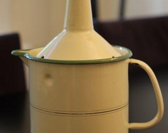 Rare antique enamel milk pot with milk guard / 1930s / art deco / vintage