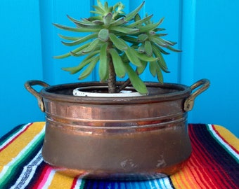 FREE SHIPPING-Vintage Handmade Tongue & Groove Clip Style Copper Pot-Brass Handles-Copper Planter-Farmhouse-Bohemian-Mid Century