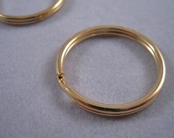 Split ring large, Key rings, Key chain rings, Gold finished Steel, split Rings, 24mm round, Bulk Order Option
