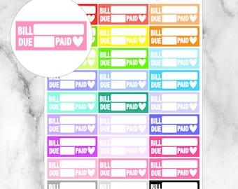 Bill Due Planner Stickers // 27 Stickers // For your Erin Condren, Filofax, and more