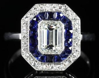 Sapphire Emerald Cut Diamond Ring Vs1 Diamonds French Cut Sapphires 18ct Gold