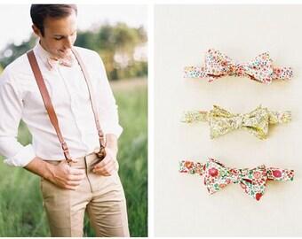 Pink men's bow tie, Liberty of London Print Bow tie, coral bow tie, blush tie, wedding bow tie, custom pink bow tie, salmon bow tie