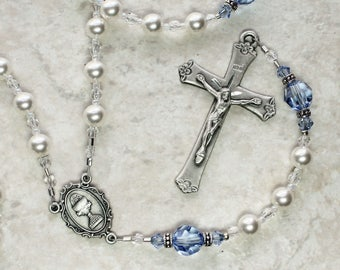 White & Blue Sapphire First Holy Communion Rosary; Catholic Holy Communion Rosary