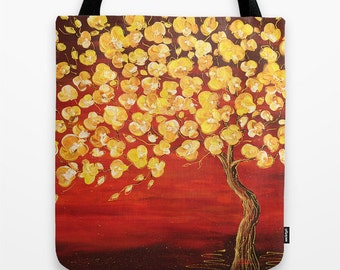 Art Tote Bag, Red, Yellow, Tree Tote Bag, Gifts, Gift for Her, Girls Tote Bag, Shopping Tote Bag, Book Tote Bag, Womens Totes, Canvas Tote