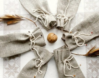 10 Small Gift Bags Rustic Burlap Grey Wedding Pouches