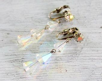 Clip On Aurora Borealis Dangle Earrings Vintage 1950s