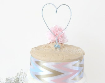 Heart Cake Topper, Rustic Wedding Cake Topper, Wedding Cake Topper, Barn Wedding Decor, Unique Cake Topper, Wire Cake Topper