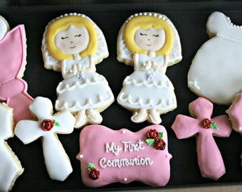 First Communion Decorated Cookies-Assorted Decorated Communion Cookies