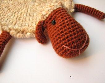 FREE SHIPPING!  Animal coaster Cozy Sheep crochet amigurumi