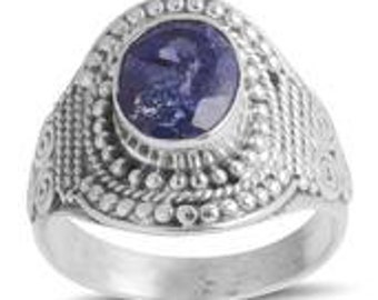 Bali Legacy Collection Rough Cut Tanzanite (Ovl) Ring in Sterling Silver Nickel Free (Size 8.5) TGW 2.47 Cts.