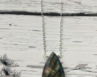 Labradorite necklace, Sterling silver