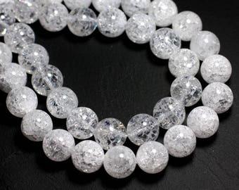 5pc - stone beads - clear Quartz crystalline balls 10mm 4558550018717