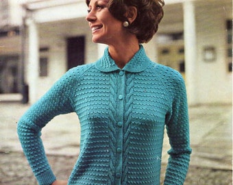ladies cardigan knitting pattern pdf womens 4 ply jacket with collar Vintage 60s 33-38 inch 4ply Instant download