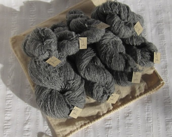 Several skeins of reclaimed, recycled, 100% Shetland wool yarn, charcoal gray, fingering weight (14 wraps per inch), 1167 yards (~12 oz.).