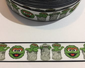 "3 Yards of 1"" Wide Ribbon - Oscar The Grouch from Sesame Street"