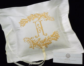 Silk ring bearer pillow Personalized ring pillow Monogrammed with oak leaves and acorn jfyBride Style 4212